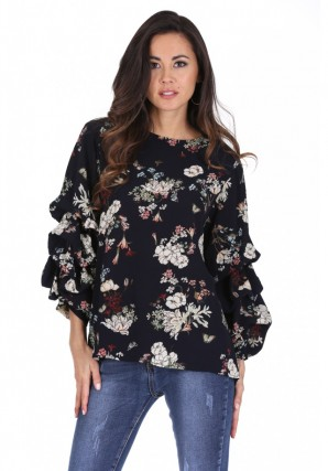 Women's Navy Floral Ruched Sleeved Top