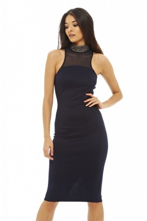 Women's Embellished Neck Bodycon Navy Dress