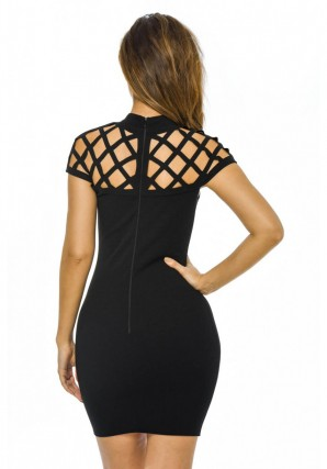 Women's Cage Detail Mini Bodycon  Black Dress