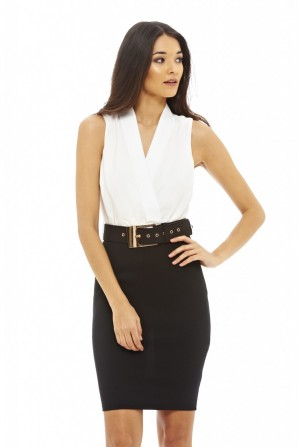Women's Belted Bodycon Cream Black Dress