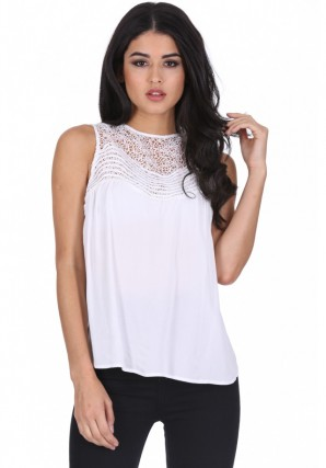 Women's Cream Crochet Top