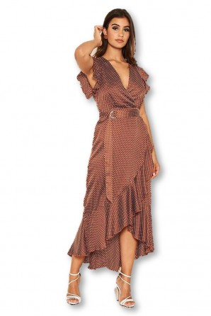 Women's Rust Polka Dot D-Ring Wrap  Midi Dress