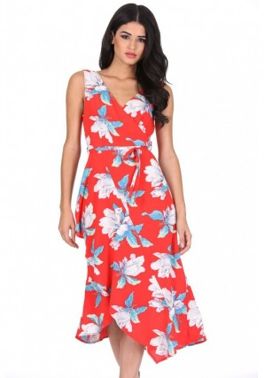 Women's Red Floral Print Sleeveless Wrap Over Dress