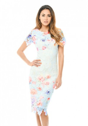 Women's Blue Lace Printed Midi Dress