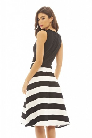 Women's 2 In 1 Striped Midi Skater  Black Dress