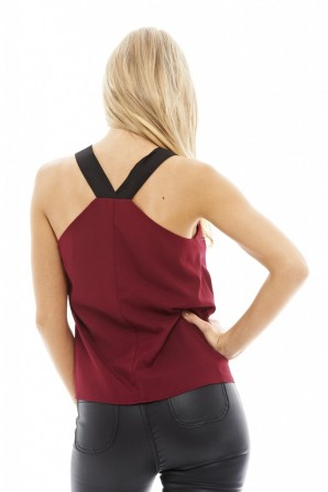 Women's Elasticated Strap Cami  Wine Top