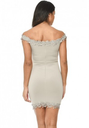 Women's Grey Bardot Mini With Lace Detail