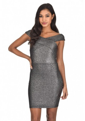 Women's Black Sparkle Off The Shoulder Bodycon dress