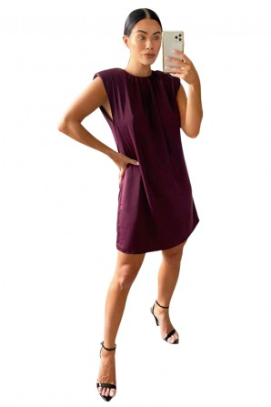 Women's Shoulder Padded Purple Shift Dress