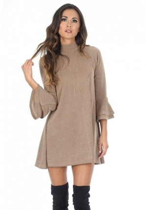 Women's Camel High Neck Bell Sleeves A-line Dress