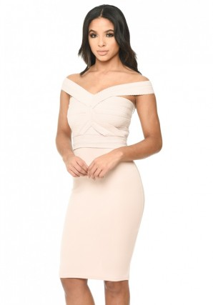 Women's Nude Midi Dress With Bandage Top
