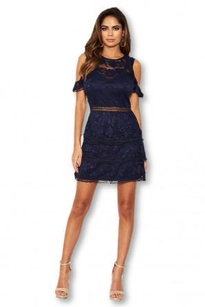 Women's Navy Lace Frill Cold Shoulder Dress