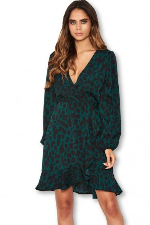 Women's Leopard Green Print Wrap Dress