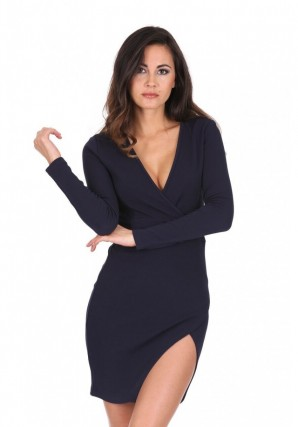 Women's Navy Wrap Thigh Split Dress