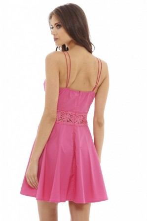 Women's Crochet    Skater    Cerise Dress