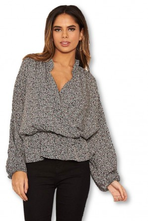 Women's Black Printed Wrap Over Top
