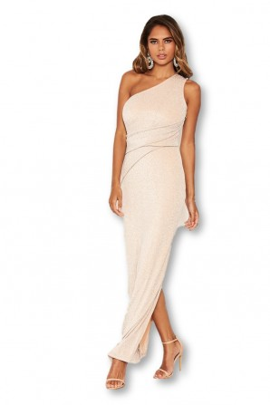 Women's Champagne One Shoulder Sparkle Cross Maxi  Dress