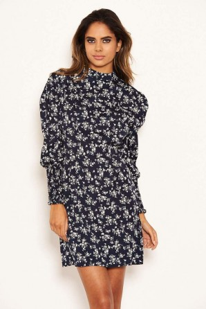 Women's Navy Ditsy Floral Puff Sleeve Skater Dress