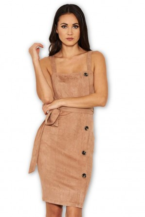 Women's Mink Suede Button Front Belted Dress