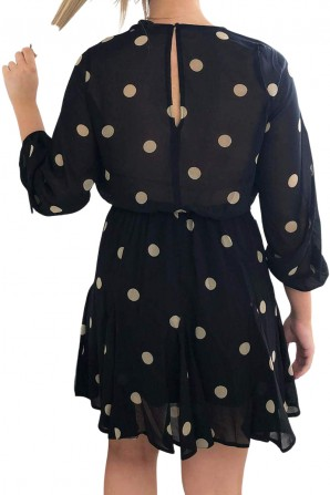 Women's Black Spotty Pleated Skirt Dress