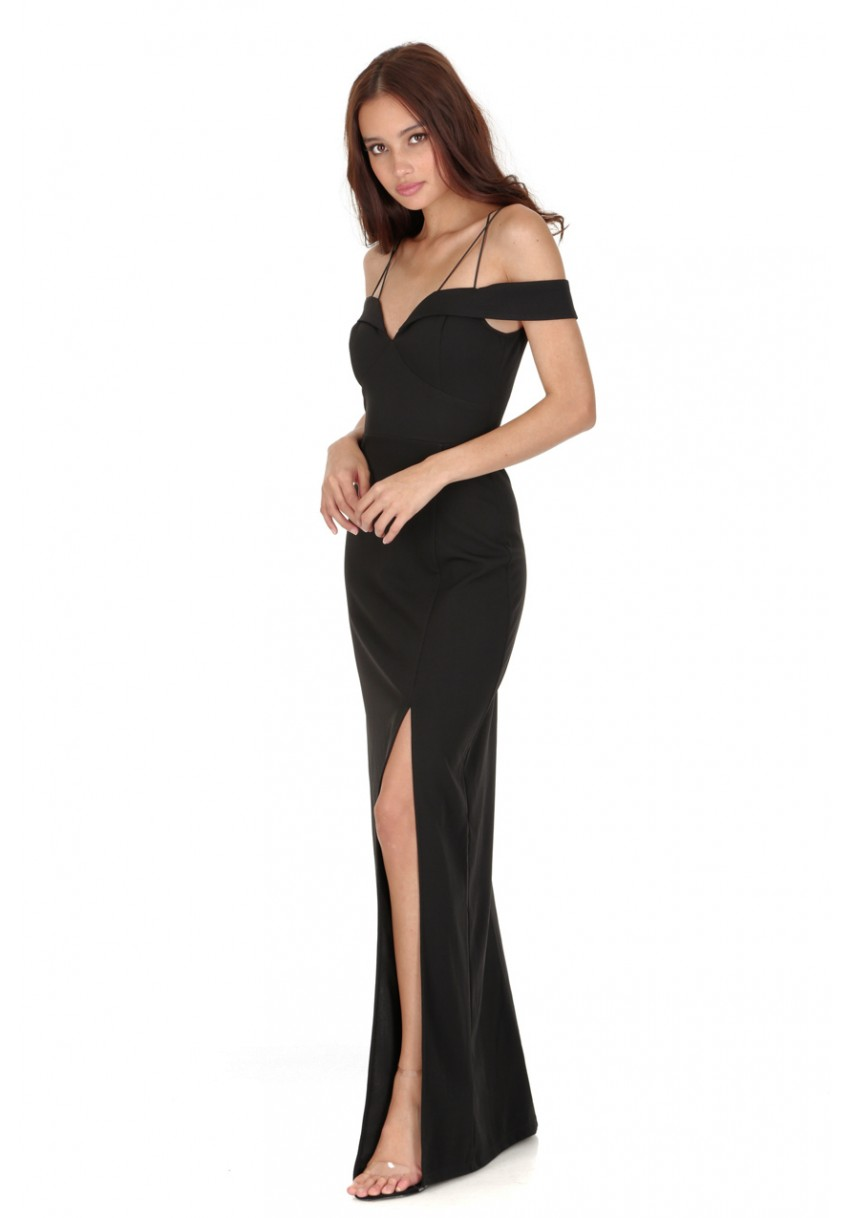 60454237e375 Women s Black Strappy Off The Shoulder Side Split Maxi Dress - AX ...