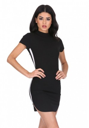 Women's Black Mini Dress With White Panel Detail