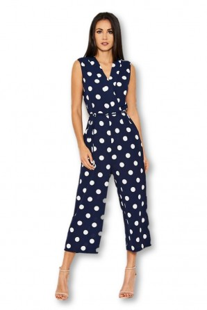 Women's Navy Polka Dot Tie Waist Jumpsuit