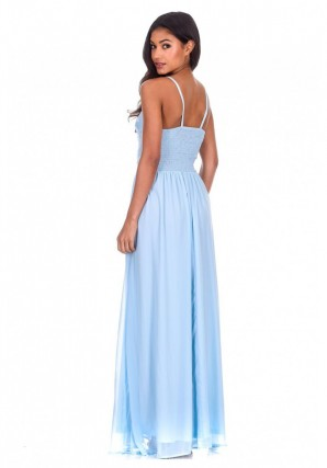 Women's Blue Mesh Embroidery Maxi Dress