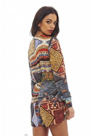 Women's Bright Printed V Neck  Multi Romper