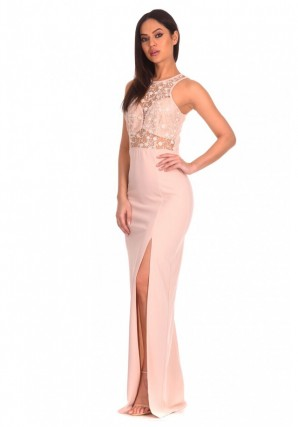 Women's Nude  Lace Top Maxi Dress