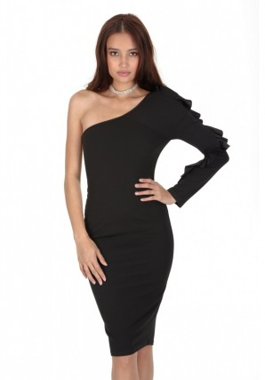 Women's Black Ruffle Sleeve Dress