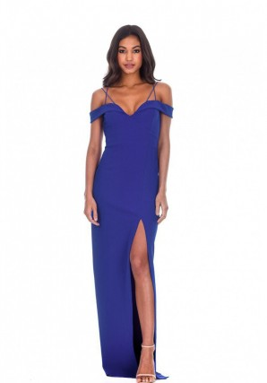 Women's Blue Strappy Off The Shoulder Side Split Maxi Dress