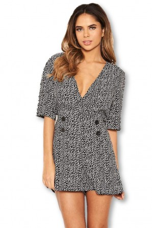Women's Black Button Wrap Romper