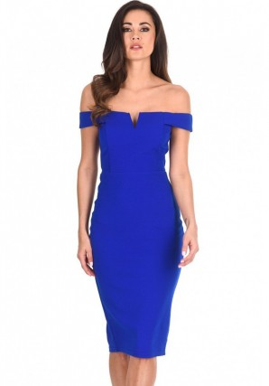 Women's Cobalt Bardot Bodycon Dress