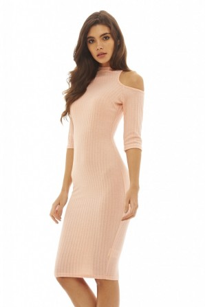 Women's Cut Out Knitted Bodycon  Peach Dress