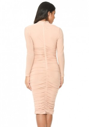 Women's Champagne Long Sleeved Ruched Detail Dress