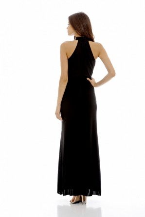 Women's High Neck Maxi  Black Dress