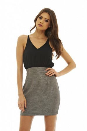Women's 2 In 1 Mini  Pewter Dress