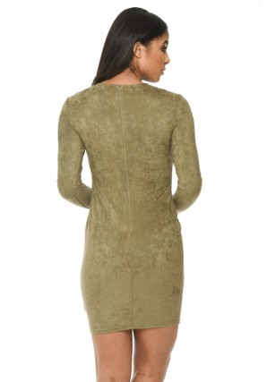 Women's Khaki Suede Strappy Bodycon Dress
