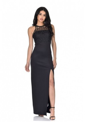 Women's Black High Neck Maxi Dress With Crochet Neck