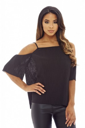 Women's Micro Pleated Cold Shoulder  Black Top