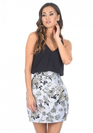 Women's Black And Silver Two In One Contrast Dress
