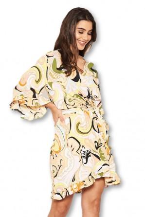 Women's Multi Printed Wrap Over Dress