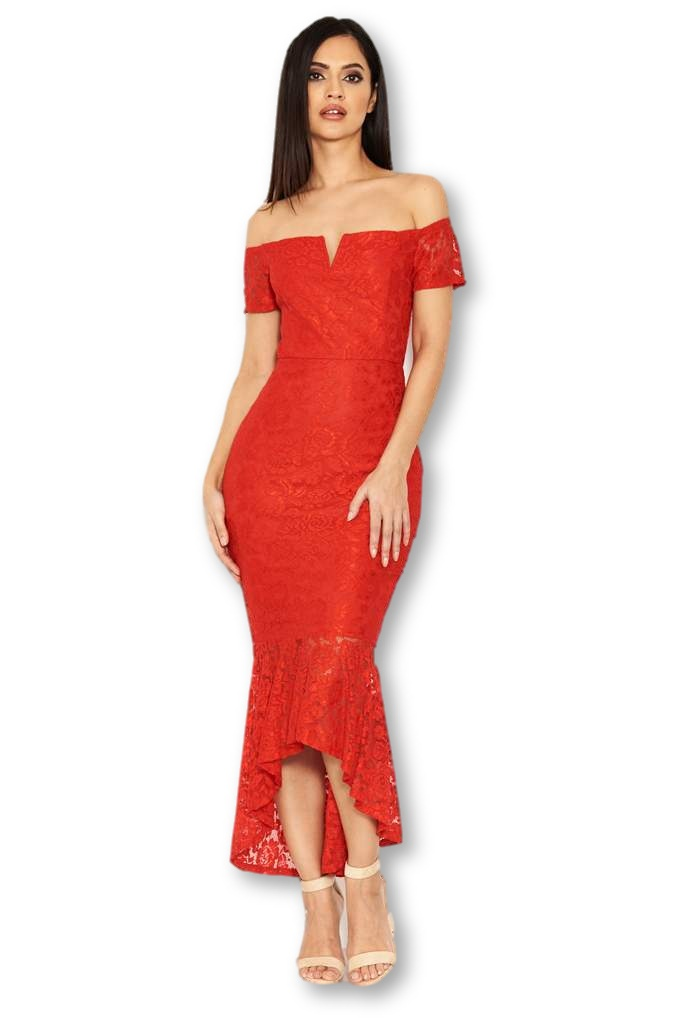 0016a042be13 Women's Red Lace Notch Front Detail Midi Dress - AX Paris USA ...
