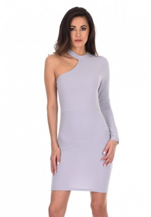 Women's Silver One Sleeve Choker Bodycon Dress