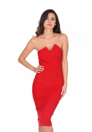 Women's Red Notch Front Bodycon Dress