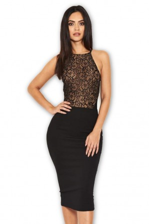 Women's Black Contrast Lace Top Midi Dress