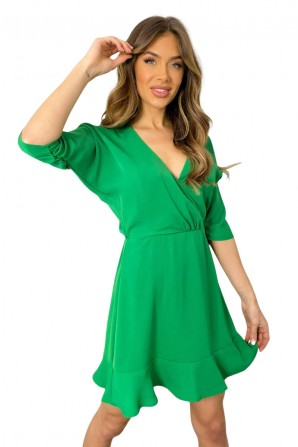 Women's Green Ruched Cuff Wrap Dress