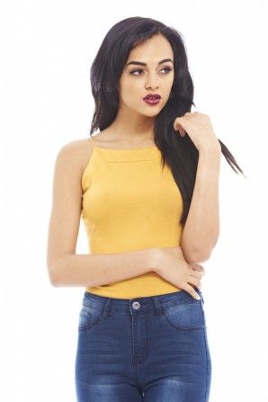 Women's Elasticated Strap Plainmustard Top