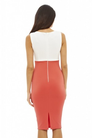Women's 2 in 1 Colour Bodycon Coral Dress